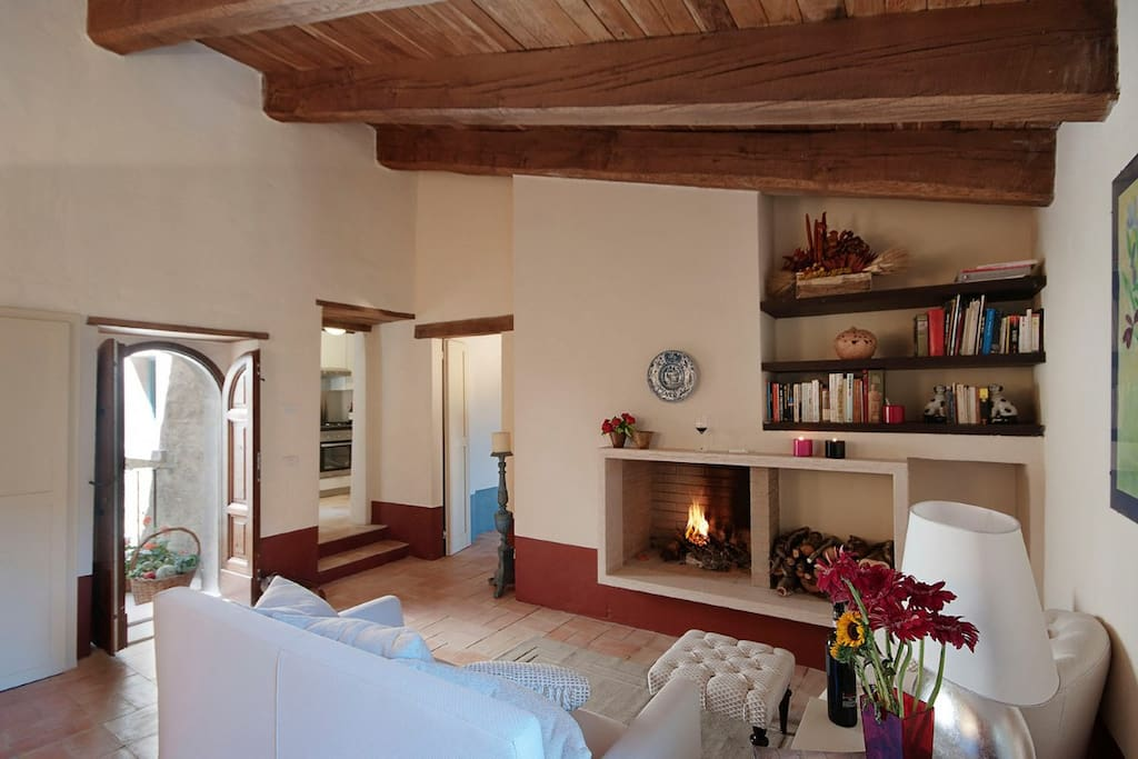 Living room with fireplace Sala con camino