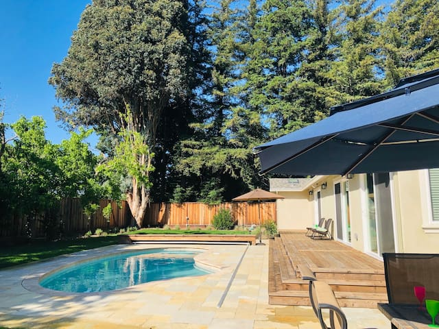 There is a great pool in the backyard!