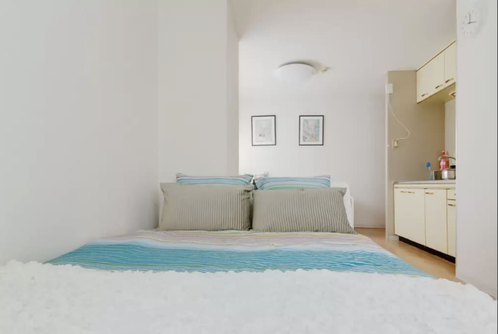 We just new opened,a double bed,1 couch sofer bed(can become semidouble-bed)