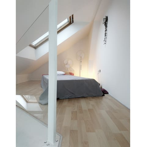 Bed on a Gallery for the last minute sleep