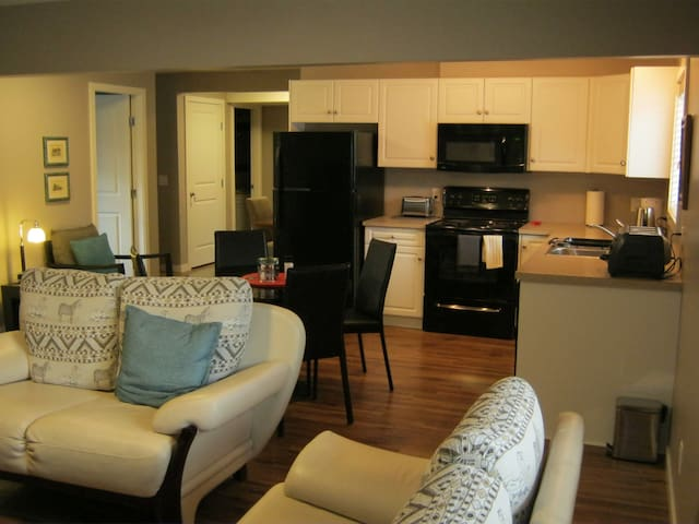 Spacious living area with full kitchen amenities