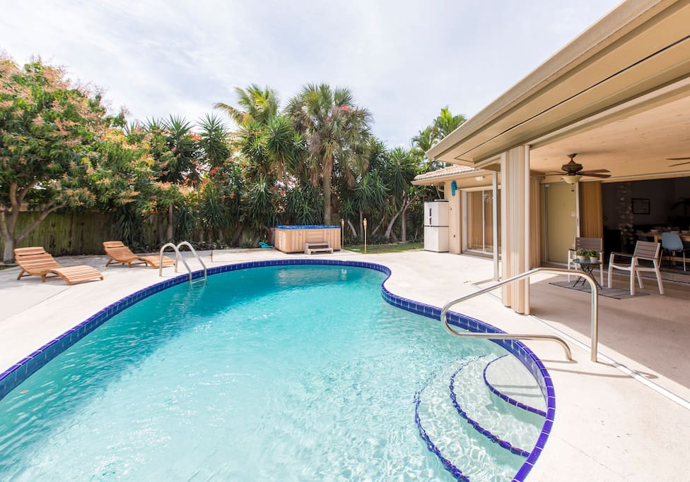 Plunge into this refreshing pool and soak in the hot tub!