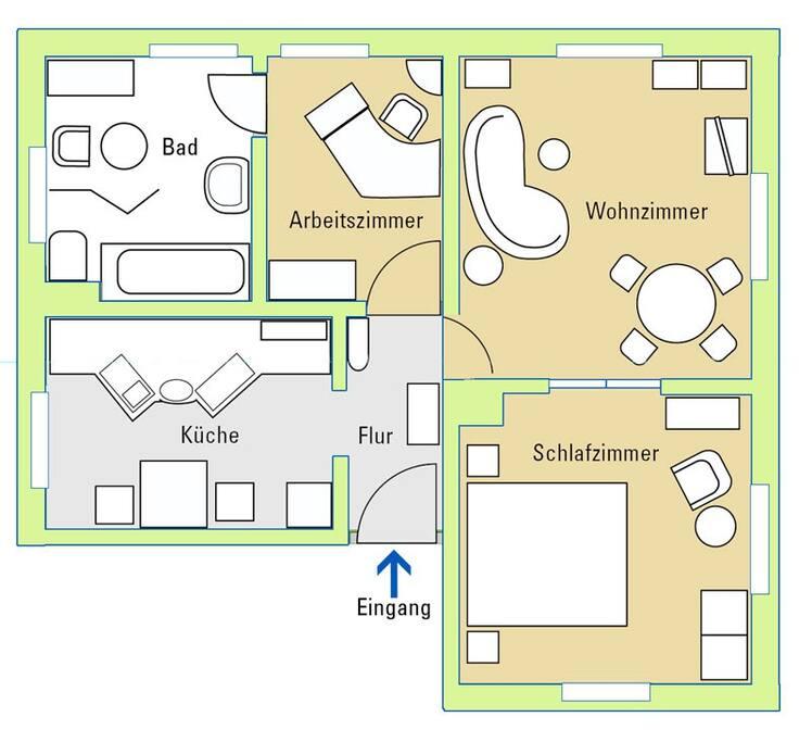 75 Quadratmeter, 3 Zimmer, Küche, großes Tageslichtbad.
