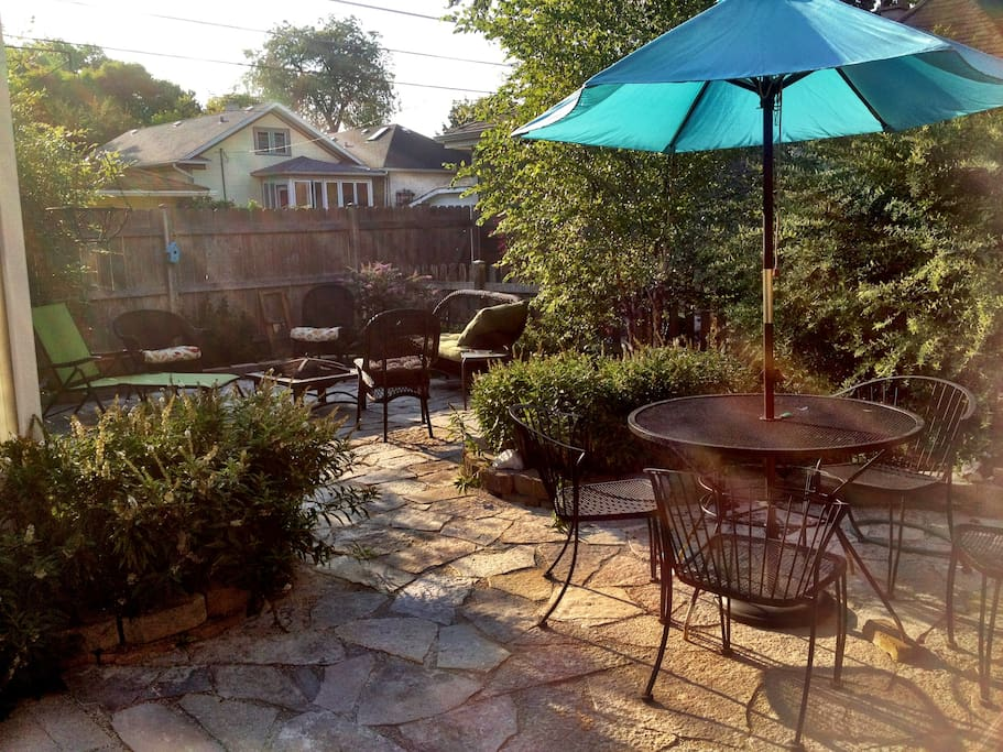 Beautiful Back yard patio and garden with fire pit