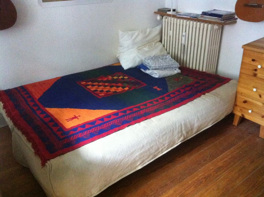 Your Big Bed! Everything you need is there: Sheets, Pillows, Blankets.