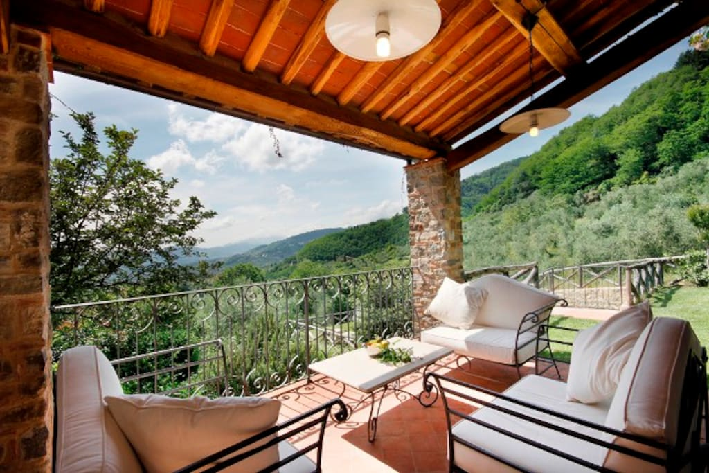 Terrace with view over rolling hills and vineyards