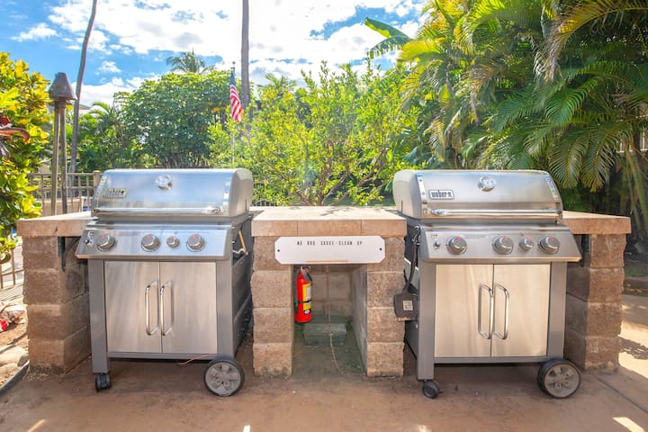 BBQ area features two gas grills