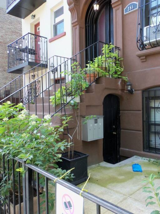 Private entrance at garden floor level