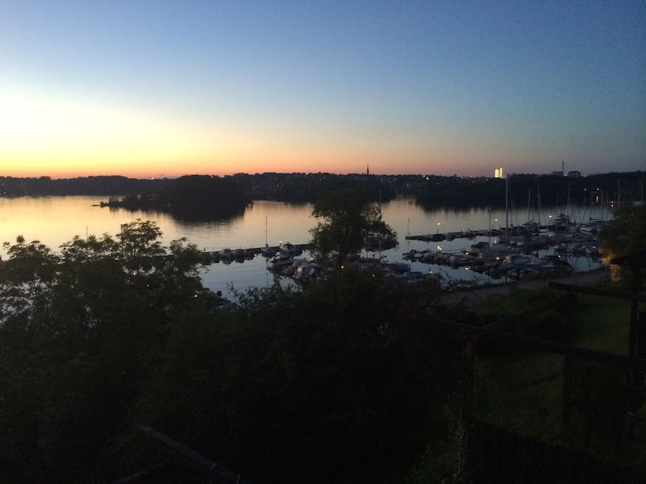 Sweden summer night. 11 pm view from the kitchen.