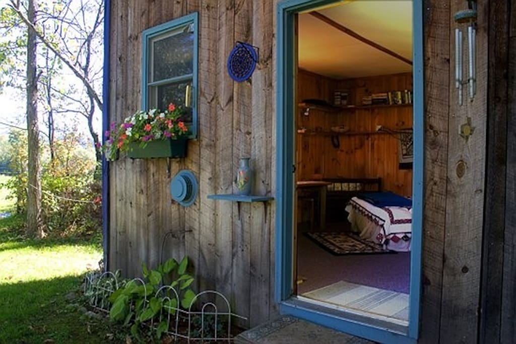 The entrance to the Rustic Cabin at Firefly B&B.
