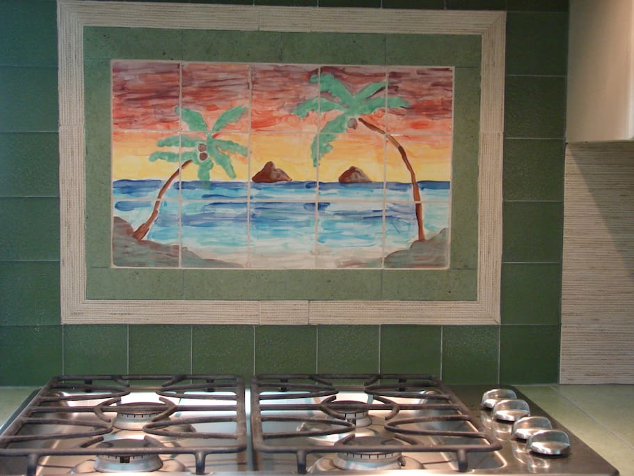 The Mokulua Islands are hand-painted tiles which remind us of the windward side of Oahu