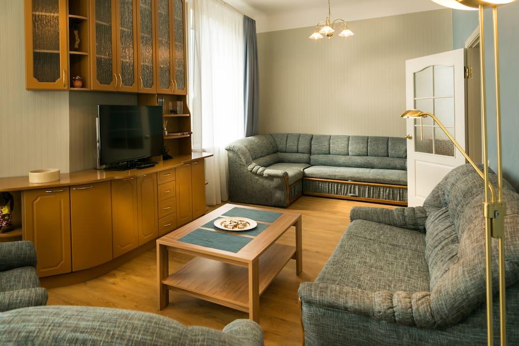 Светлая и просторная гостевая комната. При надобности, диваны раскладываются в двухместные кровати. / Light and spacious living room. Both sofas are transformable in to queen size beds