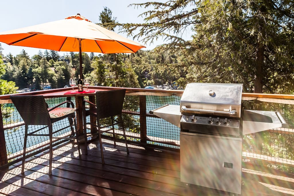 BBQ and sitting area with Emerald Bay as the backdrop