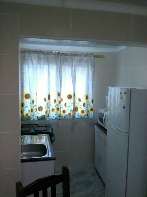 Kitchen, dining table and chairs all basics , stove, microwave oven fridge. Newly renovated