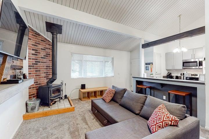 Charming, two-story ski condo w/ a wood stove, free WiFi, shared pool, & hot tub