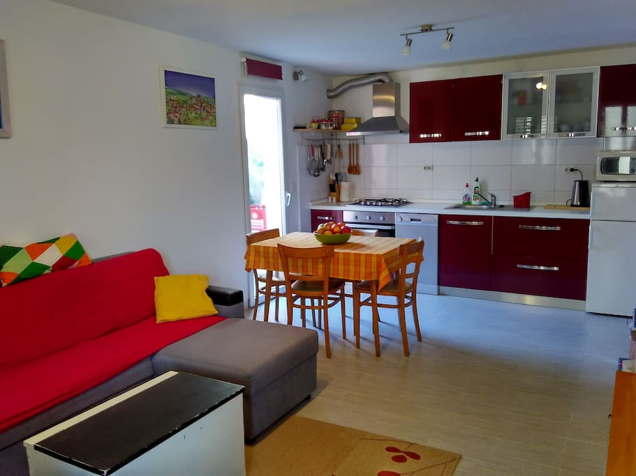 Kitchen with living room