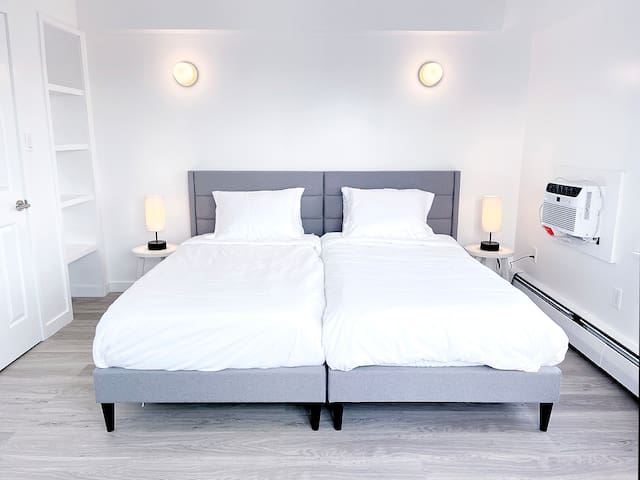"""Bedroom #1 - with 2 Twin XL beds (38"""" x 80"""" each) = 1 King bed when put together (76"""" x 80"""")"""