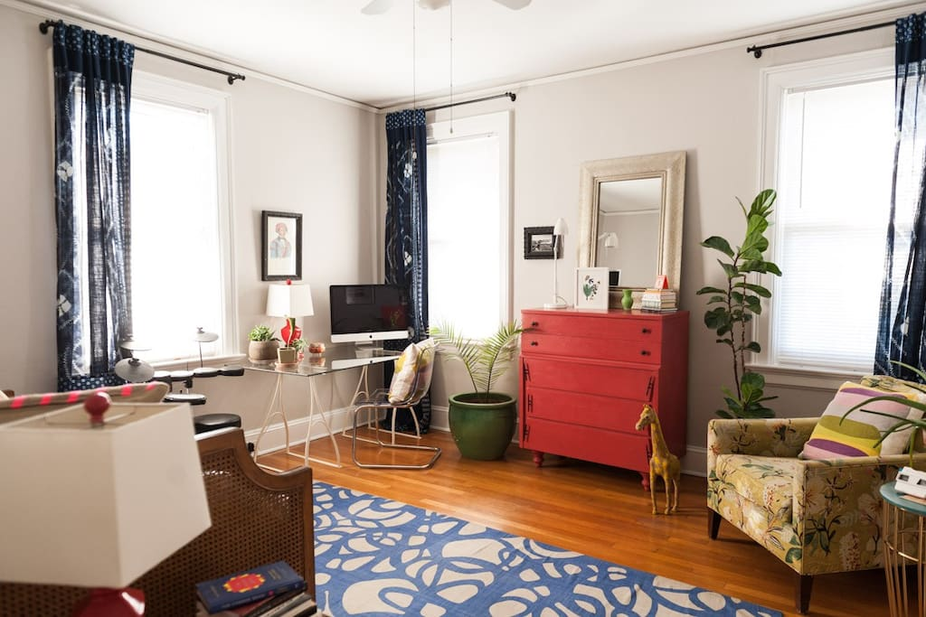 Outfitted with a chair, an empty dresser for your things, a large desk, and curtains to block out the light if needed.