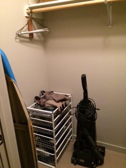 Room for hanging and storing clothes.