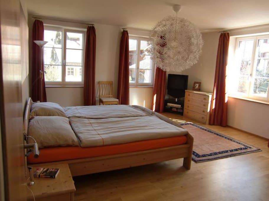 One of the bedrooms. King size bed.  Wifi, ensuite, TV.