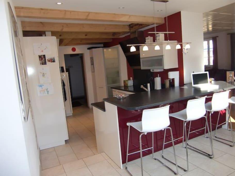 Kitchen, breakfast bar, fresh coffee