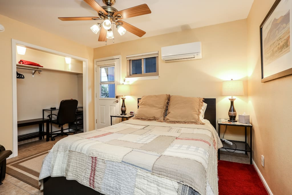 Efficient quiet AC/Heat with remote and lots of adjustments.