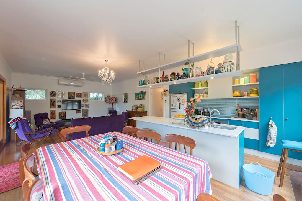 Enjoy cooking and eating in our retro inspired kitchen.