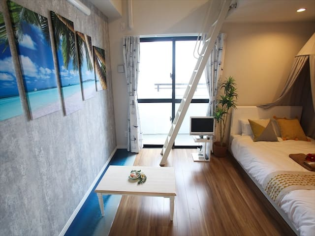 Naha Centre! 1BR with Loft Space! Family Room Max5