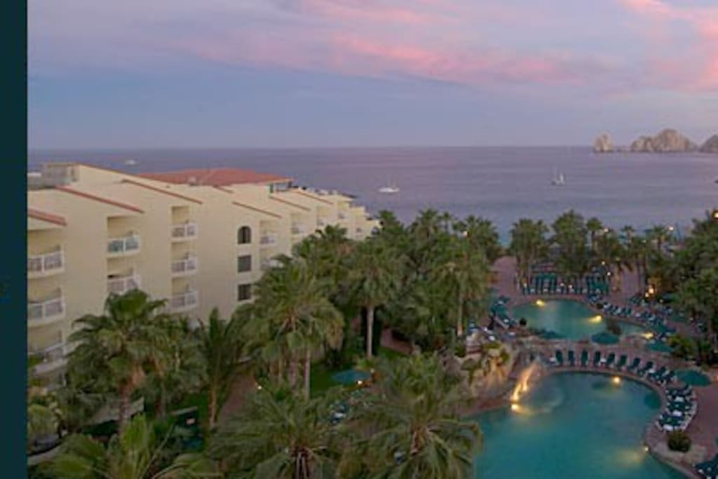 Sunset is blissful - this is an actual view from a suite in the Villa del Palmar Cabo!