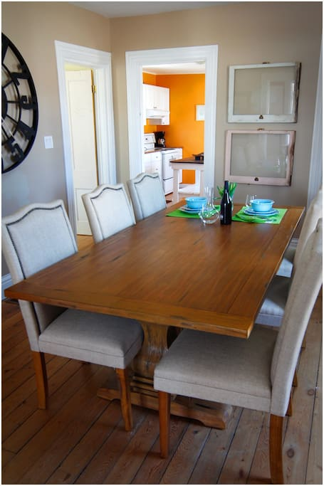 This is the dining room table with six chairs. Extra chairs are stored in the summer kitchen at the back of the house.