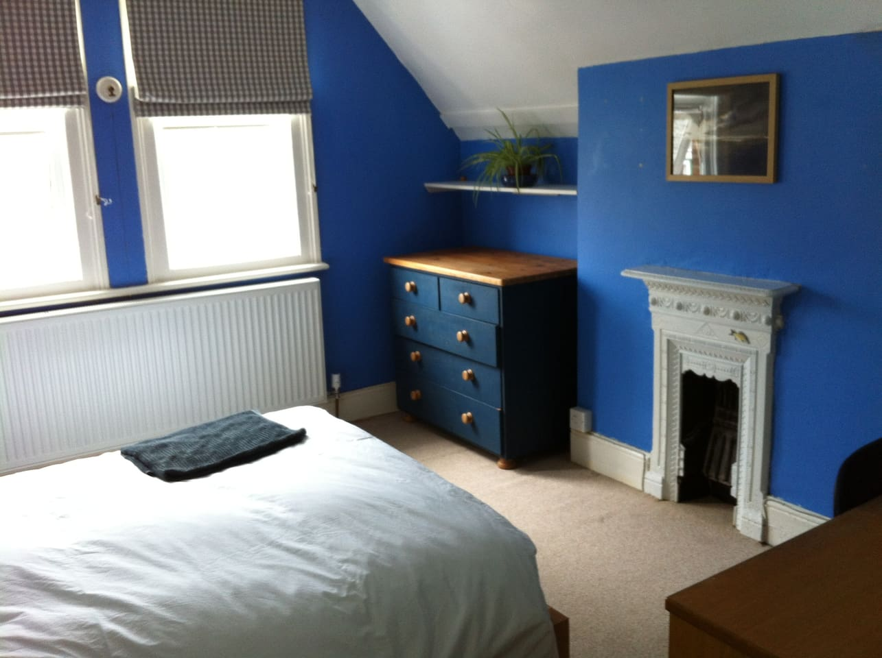 Bedroom 1, a bright, airy double room with standard sized double.