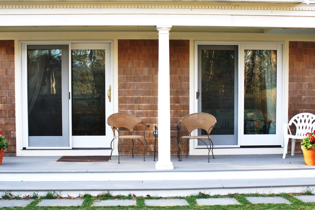 A long porch makes for comfortable indoor-outdoor living