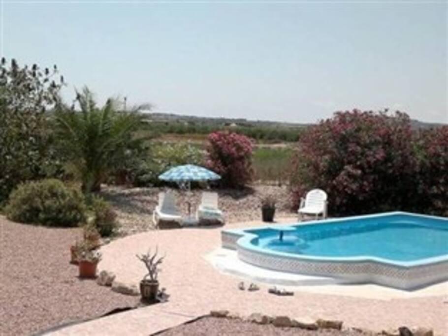 Prive zwembad met mooi aangelegde tuin/Piscina privada con su propio jardin/Private pool with nice garden