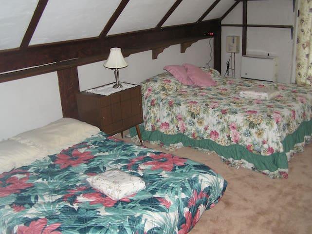 Bedroom #5 - upstiars - Double bed, queen floor futon