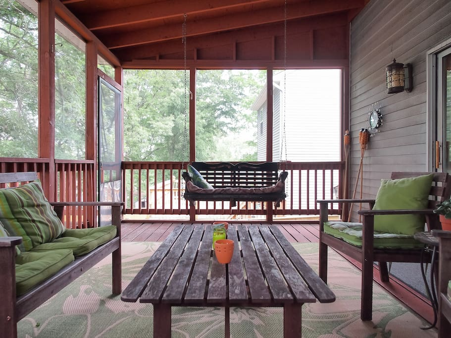 The porch swing is one of our favorite parts of the house.