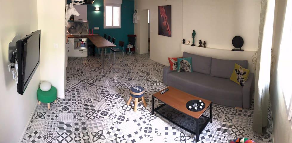 Maison 2 chambres 1 à 6 personnes cour Hammam