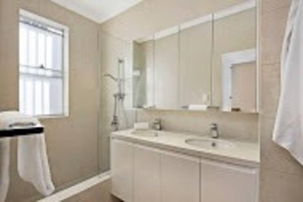 Totally modernized, double basin, shower and bath.