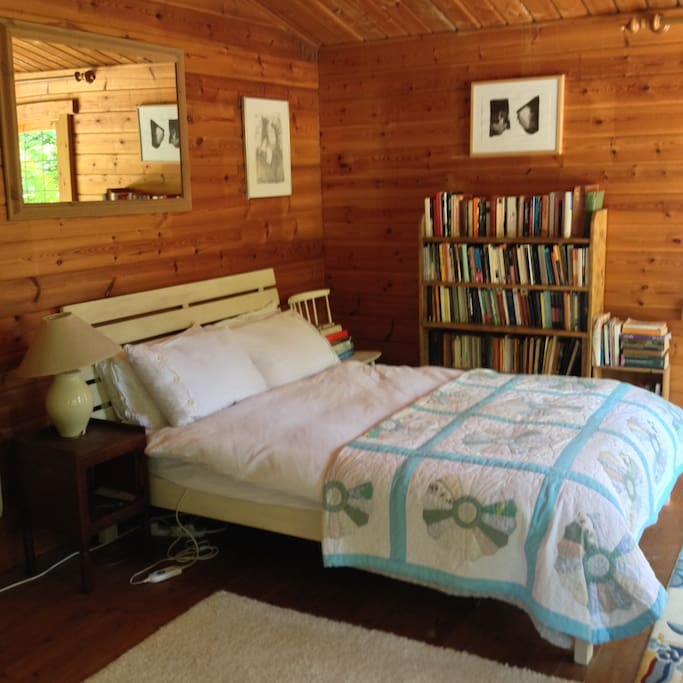 Comfortable double bed (with electric blanket) and lots of books to borrow!