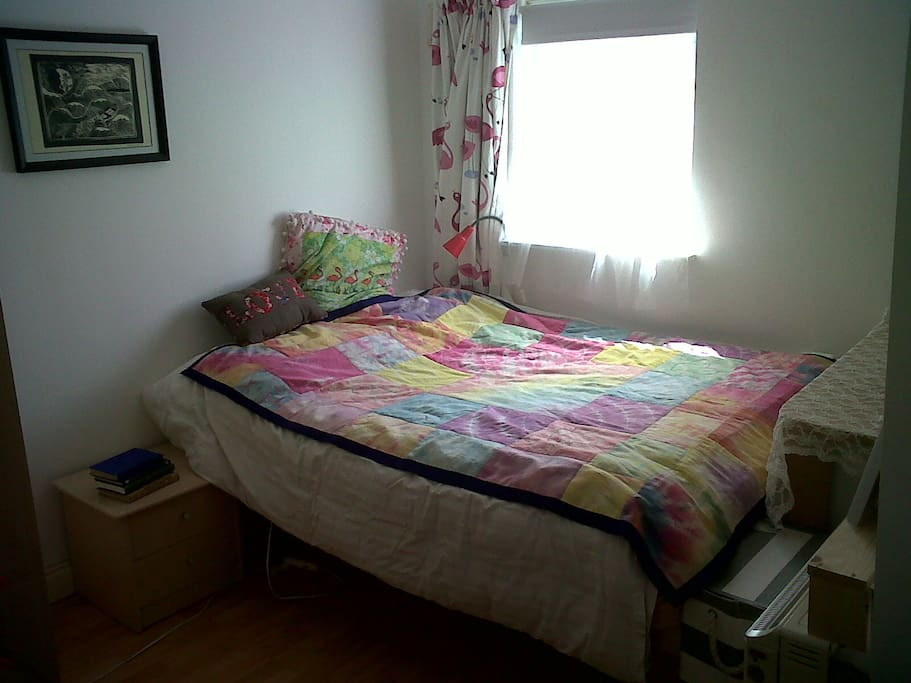 Bedroom one. Full sized double bed.