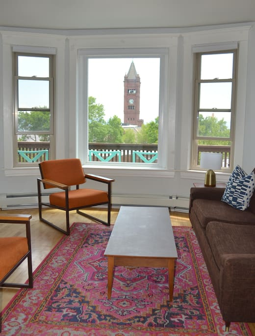 Living Room with a view. The clock tower chimes every 15 minutes.