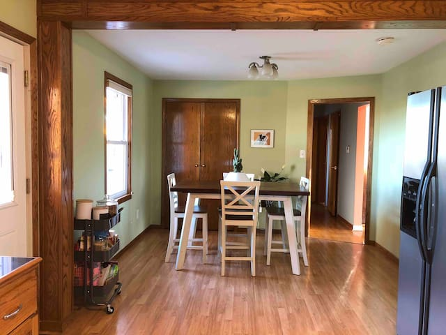 Dining room - The bedroom is down the hall.