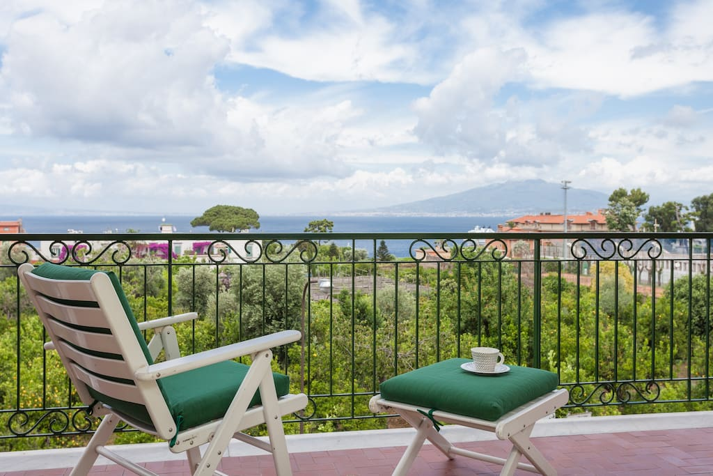 Furnished balcony with view of the sea and Mount Vesuvius