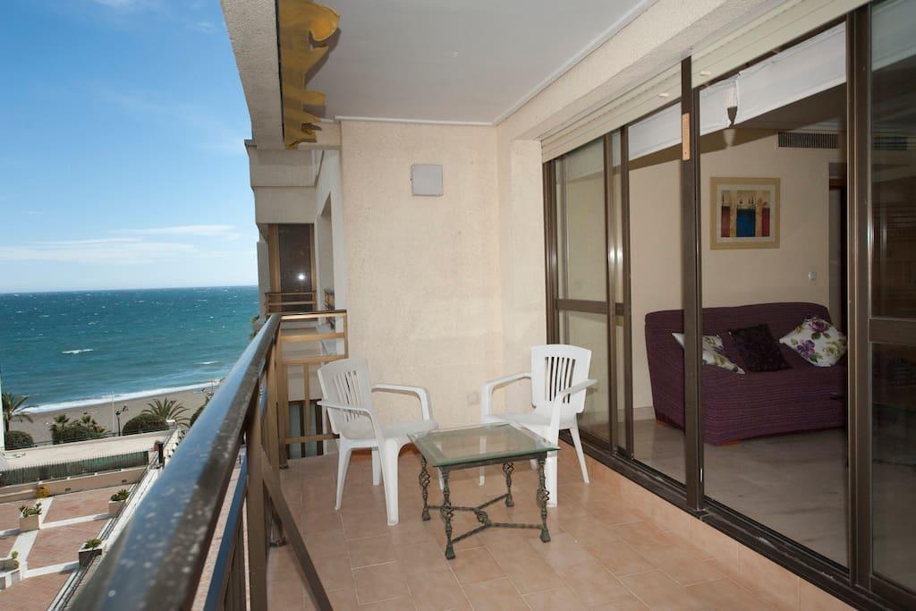 Terraza Vista del Mar desde balcon y desde dormitorio