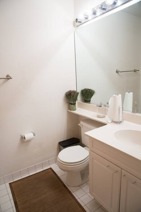 Clean Bathroom with Large Mirror and great lighting