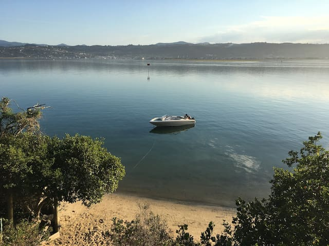 Waterfront property with boat mooring
