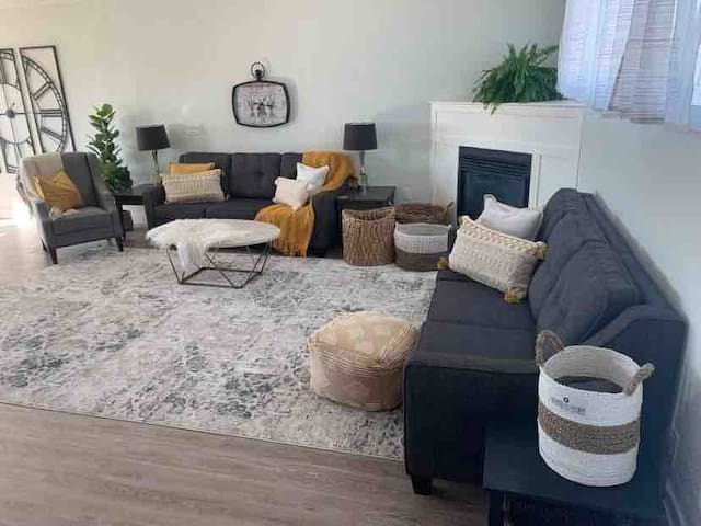 Living room with two queen sofa beds
