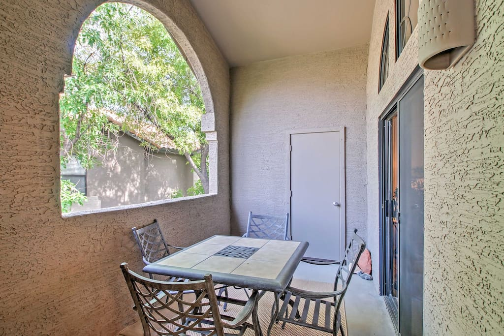 Spend mornings or evenings outside on the private balcony with a refreshing beverage.