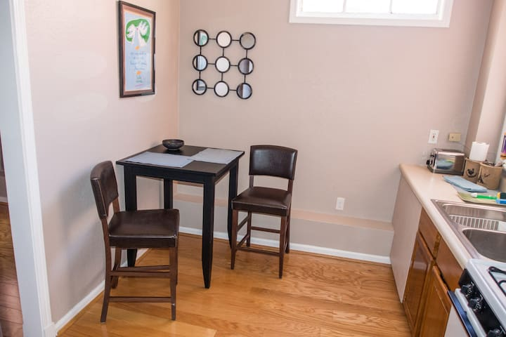 Bistro table & chairs. Please note, we no longer have a stove in the kitchen.