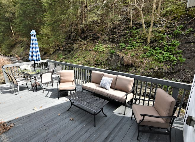 Patio right on the flowing creek with dining table and lounging area