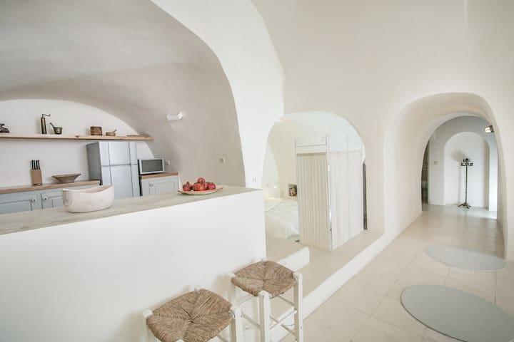 Kitchen open bedroom and corridor
